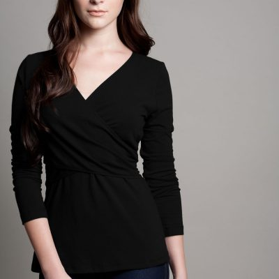 Dote Crossover wrap nursing top black front view
