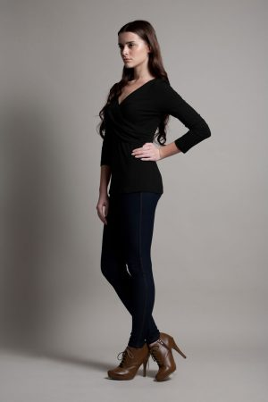 Dote Crossover wrap nursing top black side view