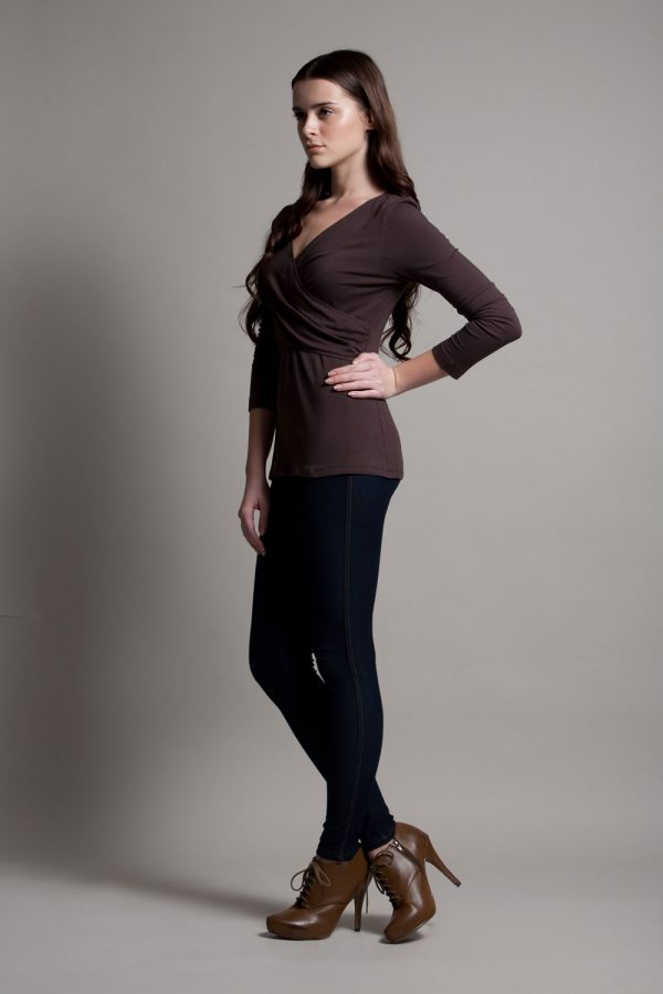 Dote Crossover wrap nursing top brown side view