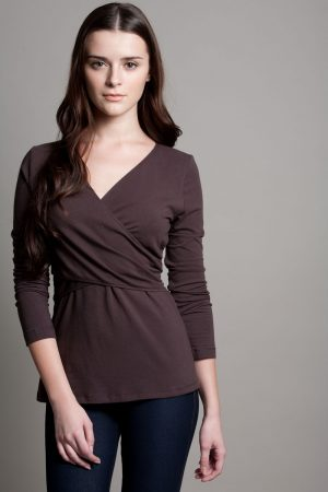 Dote Crossover wrap nursing top brown close up view