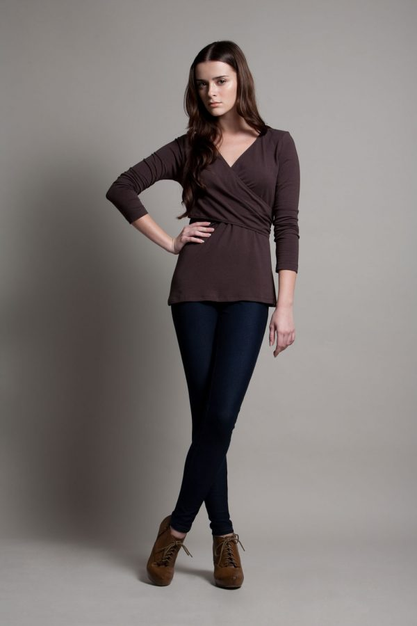 Dote Crossover wrap nursing top brown front view