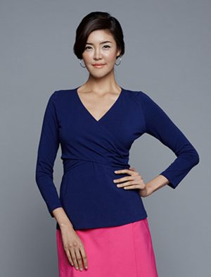 Dote Crossover wrap nursing top navy close up view