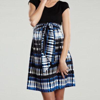 Maternal America Scoop Neck Front Tie Short Sleeve Dress