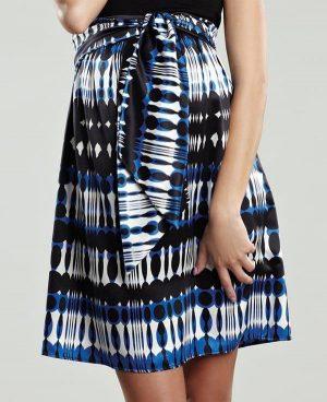 Maternal America Scoop Neck Front Tie Short Sleeve Dress skirt close up