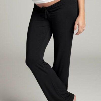pregnant woman wearing Ingrid & Isabel lounge pants in black