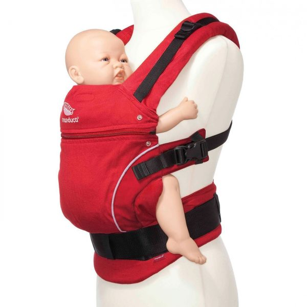 manduca classic baby carrier in red carrying doll