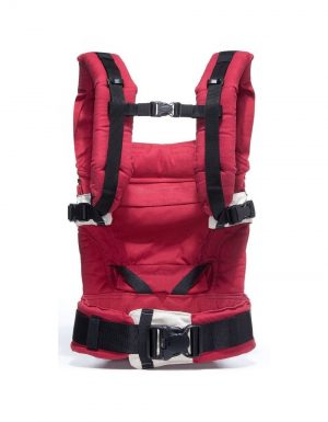 manduca classic baby carrier in red back view with straight straps