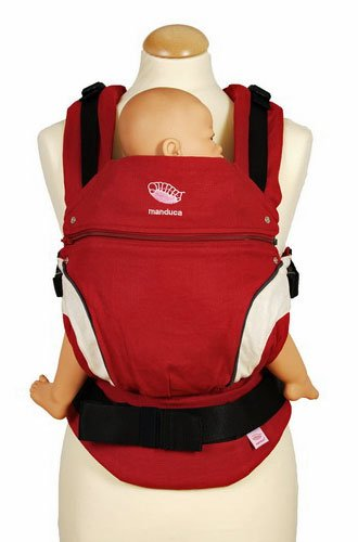 manduca classic baby carrier in red front view carrying doll