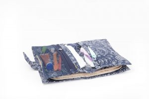 melobaby nappy wallet love navy open inside view