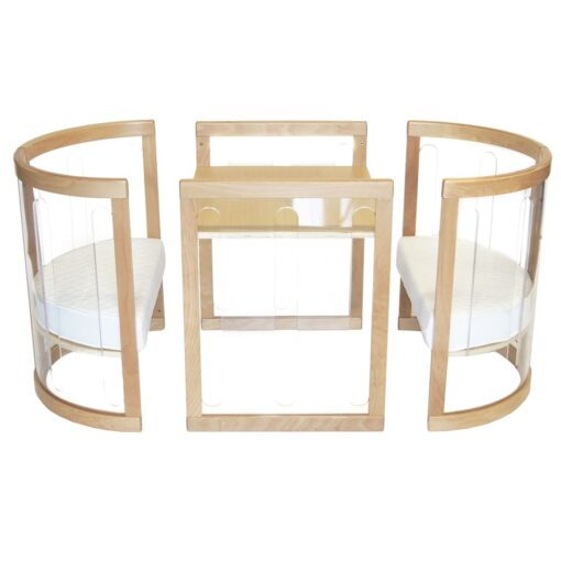 sova clear playing table and chairs in beech
