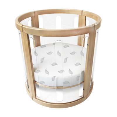 organic fitted sheet package bassinet in white leaf
