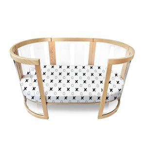 organic fitted cot package in tic tac toe pattern