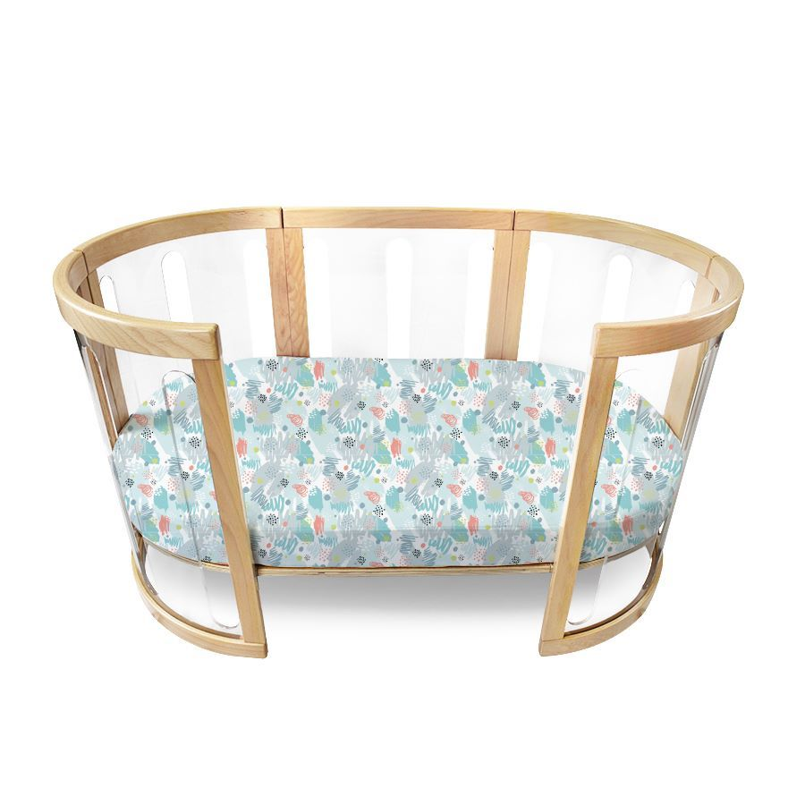 Amani Bebe Oval Fitted Sheet Cot Sized For The Sova Cot