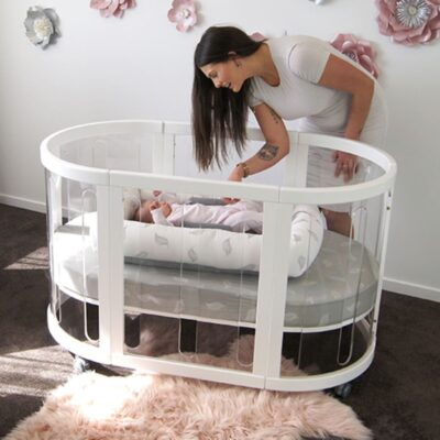 kaylula sova cot clear in white with mum and baby