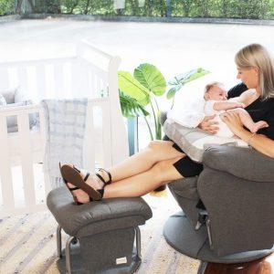 vogue feeding chair with grey fabric