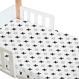 amani bebe organic fitted cot sheet in tic tac toe print