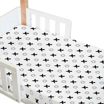 amani bebe organic fitted cot sheet in tic tac toe print