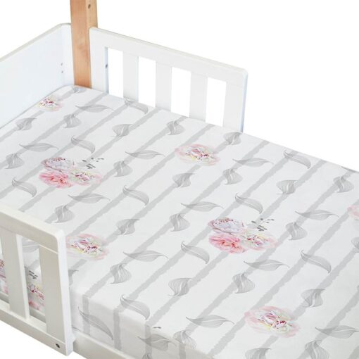 organic fitted cot sheet in vintage floral print