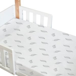 organic fitted cot sheet in white with grey leaf print