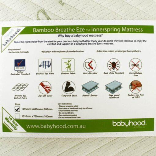 bamboo innerspring cot mattress label