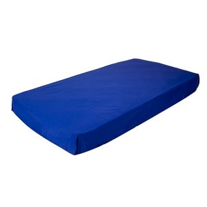 fitted cot sheet in blue