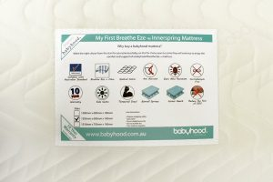 my first innerspring cot mattress label