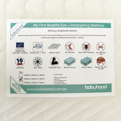 my first innerspring cot mattress label