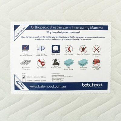 orthopaedic innerspring cot mattress label