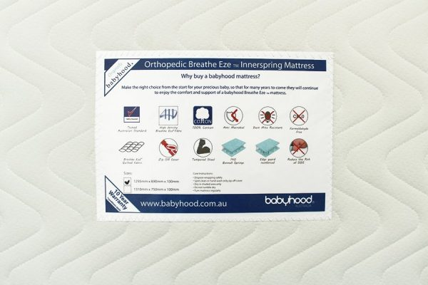 orthopaedic innerspring cot mattress label