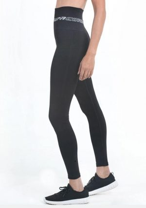 supacore black postpartum compression leggings side view in black