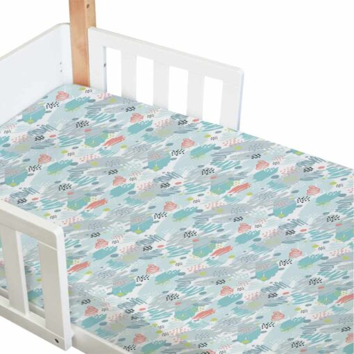 amani bebe standard fitted cot sheet in paint print