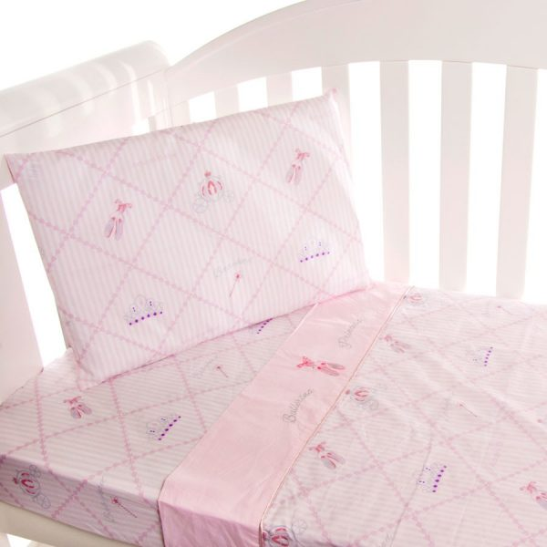 cot sheet set in ballerina princess pattern