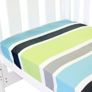 fitted cot sheet collection in lime stripe