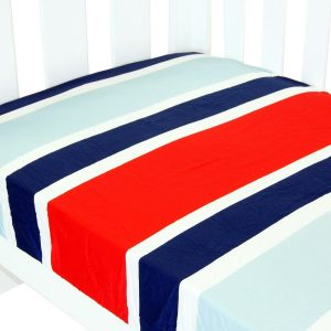 fitted cot sheet collection in navy and red stripe