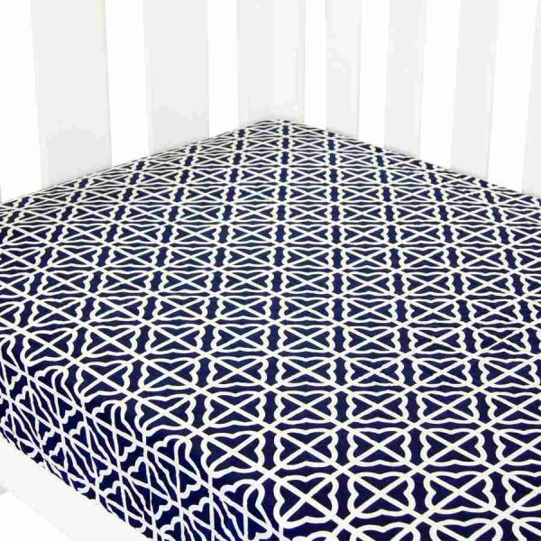 fitted cot sheet collection in navy and white