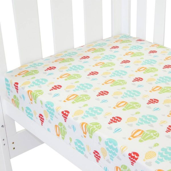fitted cot sheet collection in up in the sky print