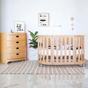 kaylula sova cot in beech in bedroom