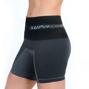 supacore postpartum compression shorts in black side view