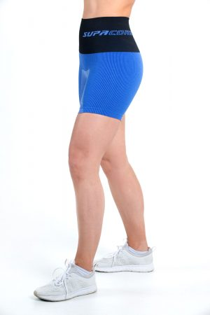 supacore postpartum compression shorts in blue side view