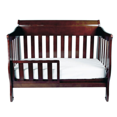 amani cot as toddler bed set up in walnut stain