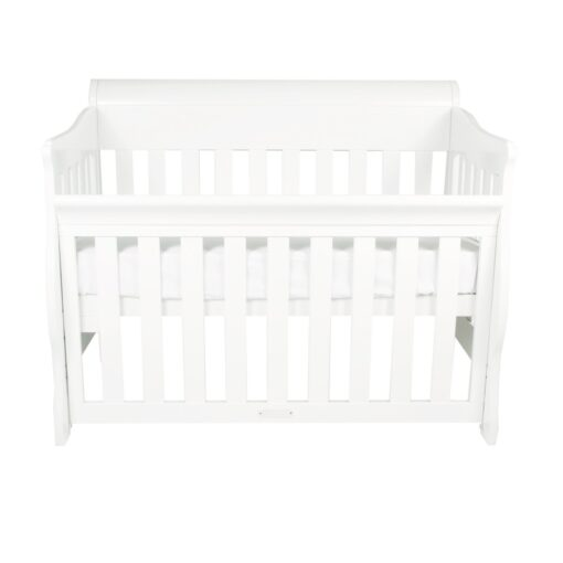 amani sleigh cot in white set as bassinet mode