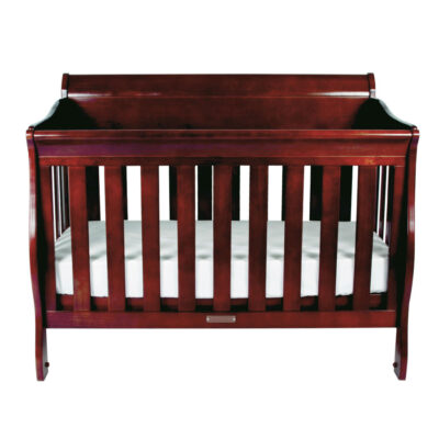 amani sleigh cot front view in walnut colour