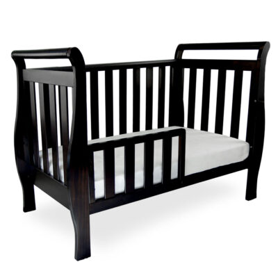georgia sleigh luxx cot as toddler bed with rail