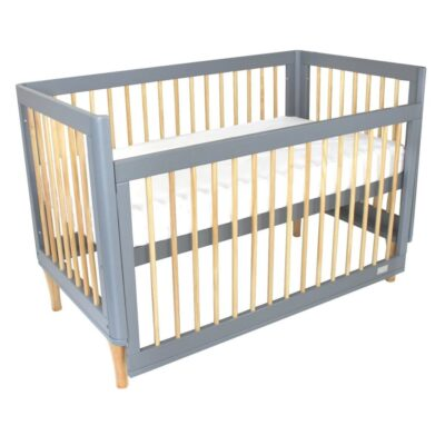 riya cot in bassinet mode in grey and natural colours