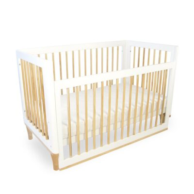 riya cot with dropside down in white and natural
