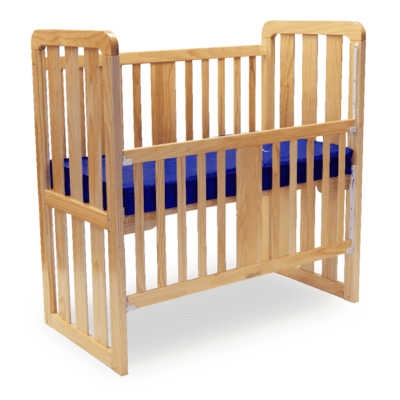 ergonomic cot with drop side down close up